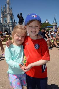Liam Cuttle and his sister, Skylar Cuttle, left, during their trip to DisneyWorld in Florida, provided by Children's Wish Foundation.