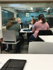 The Journalism students write and design their stories in class. (Photo by Paige Ogden/Sheridan Sun)