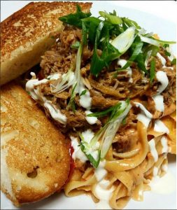 "Fettuccine pasta with pulled pork; created during ""pasta month"" at the Marquee. PHOTO BY @themarquee_ssu"