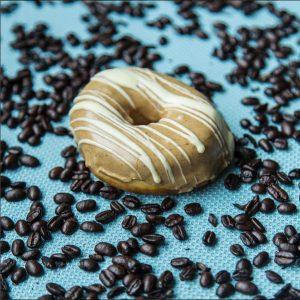 A white chocolate espresso doughnut decorated the Marquee kitchen staff. PHOTO BY @themarquee_ssu