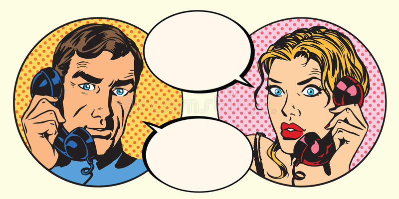 vintage-couple-man-woman-talking-phone-pop-art-retro-vector-73315145