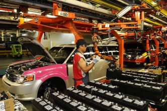 Worker in Ford Oakville plant
