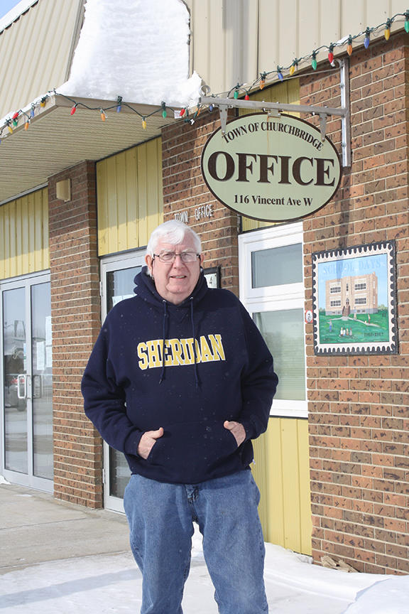 Mayor Bill Johnston stands in front of the Town of Churchbridge offices, on February 17, 2021, in Churchbridge, Saskatchewan. (Bill Johnston/Sheridan Sun Alumni)